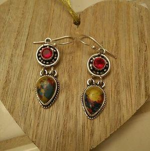 Natural Stone Dangle Earring Handmade in India